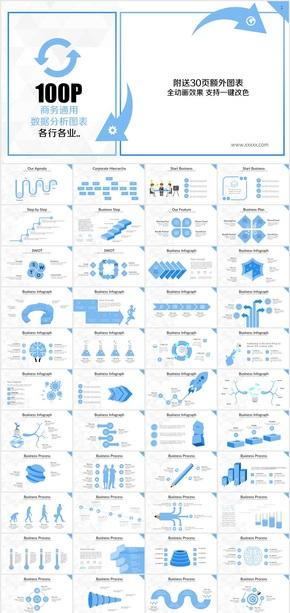 蓝色商务数据信息图表合集PPT模板