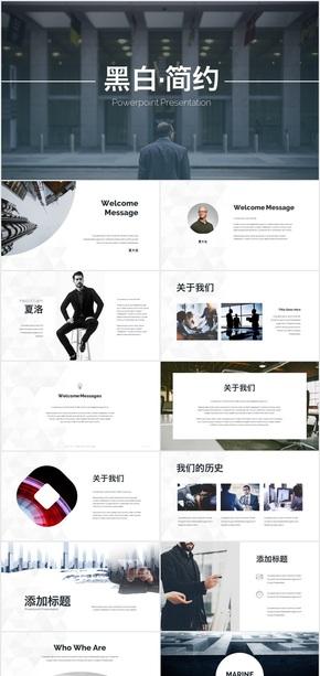 简约风格公司介绍总结商务PPT模板