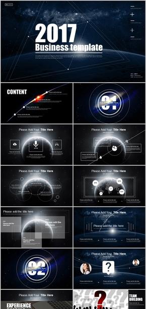 炫酷動態科幻宇宙星球商務計劃PPT模板