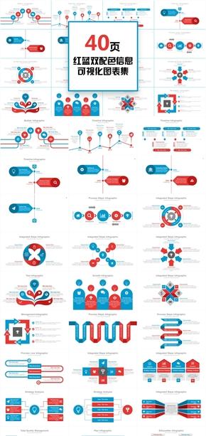 40页红蓝商业图表