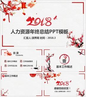 新年中国风人力资源年终总结PPT背景