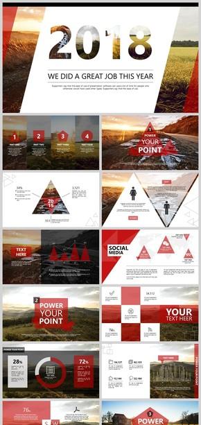 微立体时尚几何商务红色模版总结汇报PPT模板