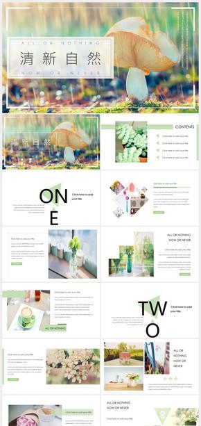自然小清新杂志风画册PPT模板