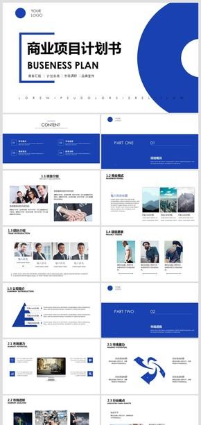 简约蓝色商业项目计划书PPT模板